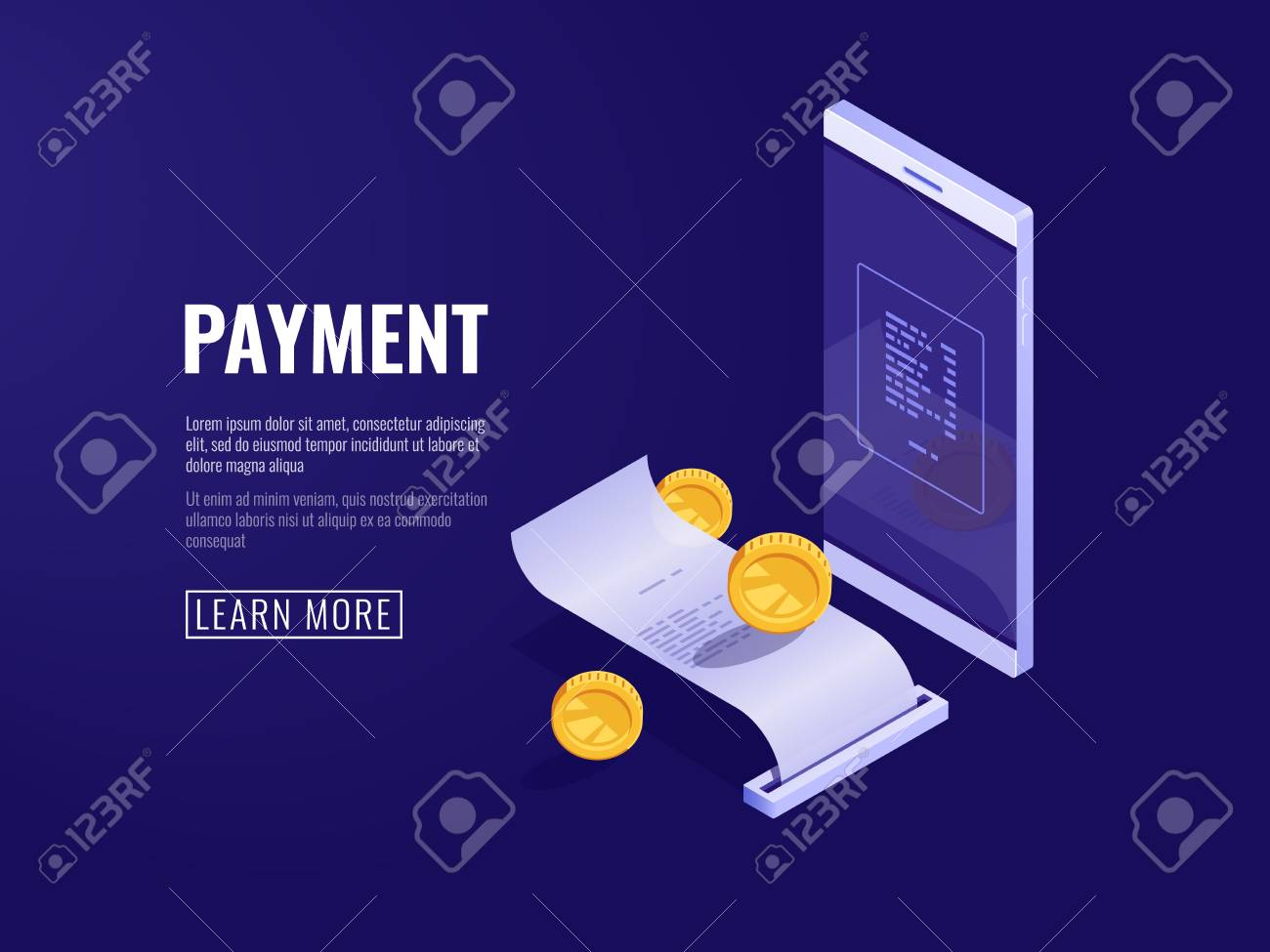 online payment concept with mobile phone and paper receipt electron