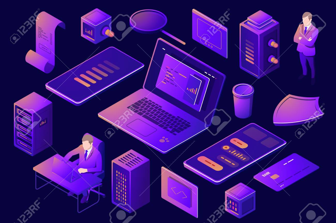 Set Of Elements For Design Of Digital Technology Server Room Royalty Free Cliparts Vectors And Stock Illustration Image 121021775