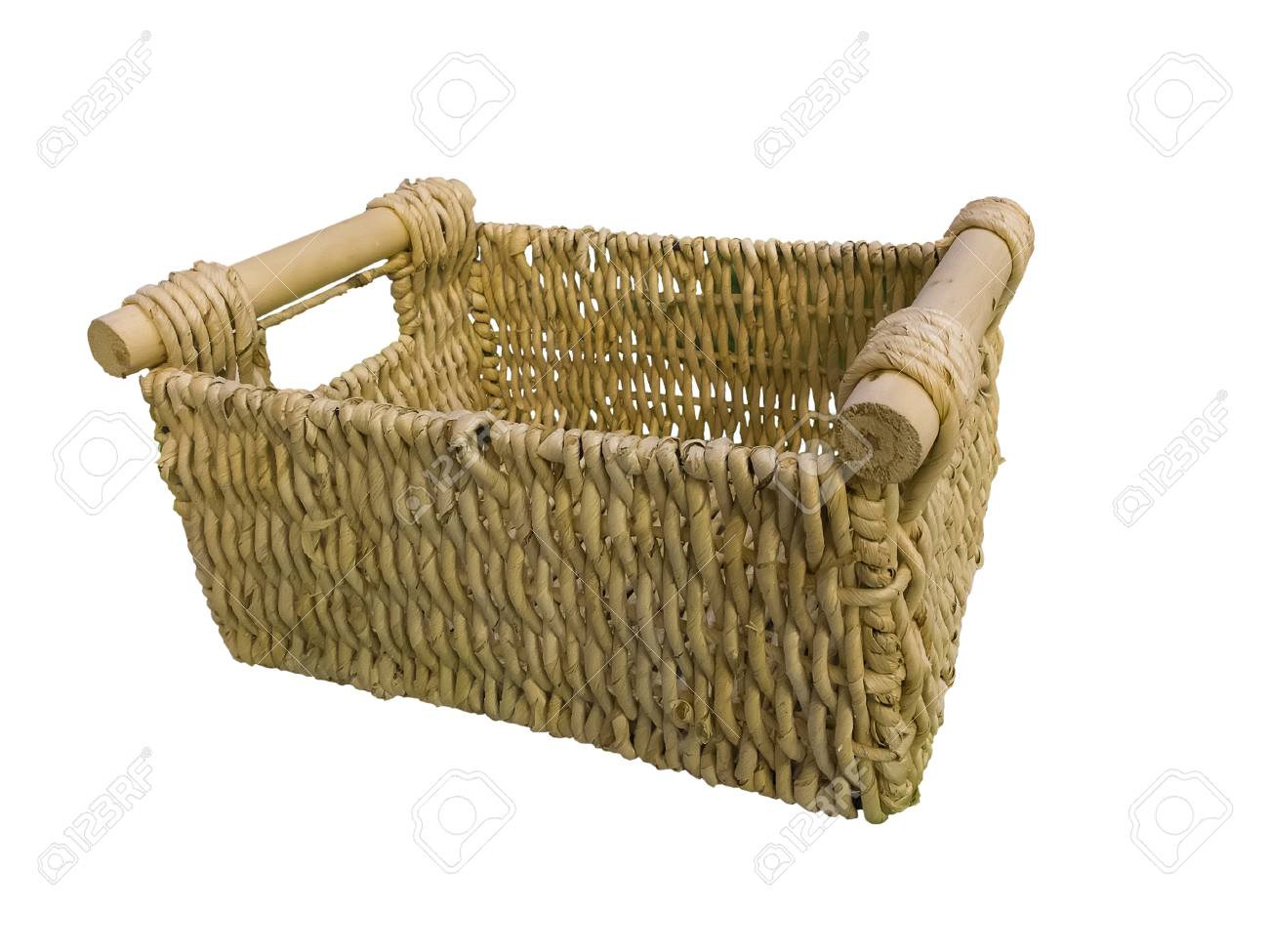 Empty Wicker Basket With Wooden Handles Isolated On White Background
