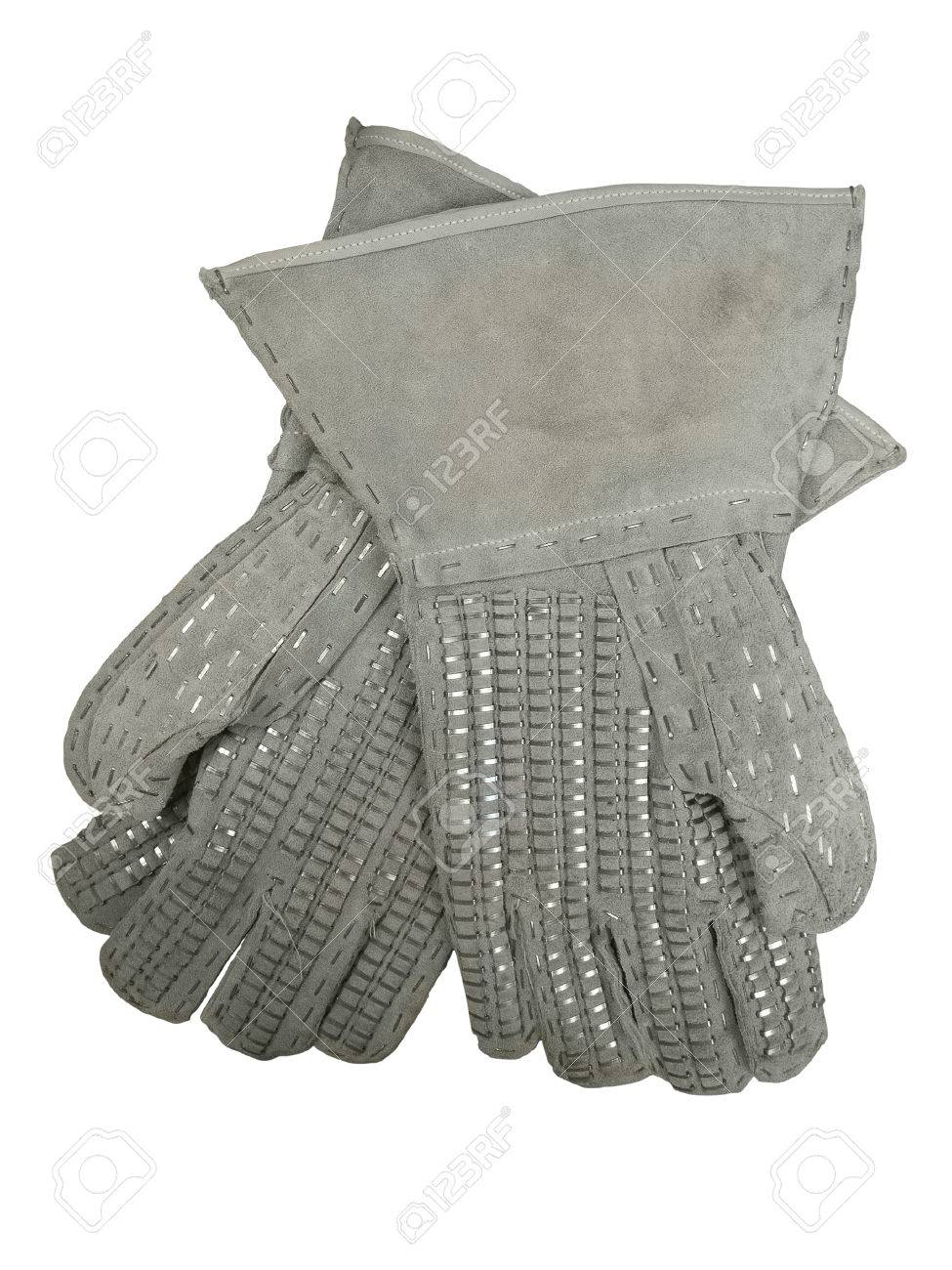Barbed Wire Handling Gloves. Pair Of Leather Protective Gloves ...