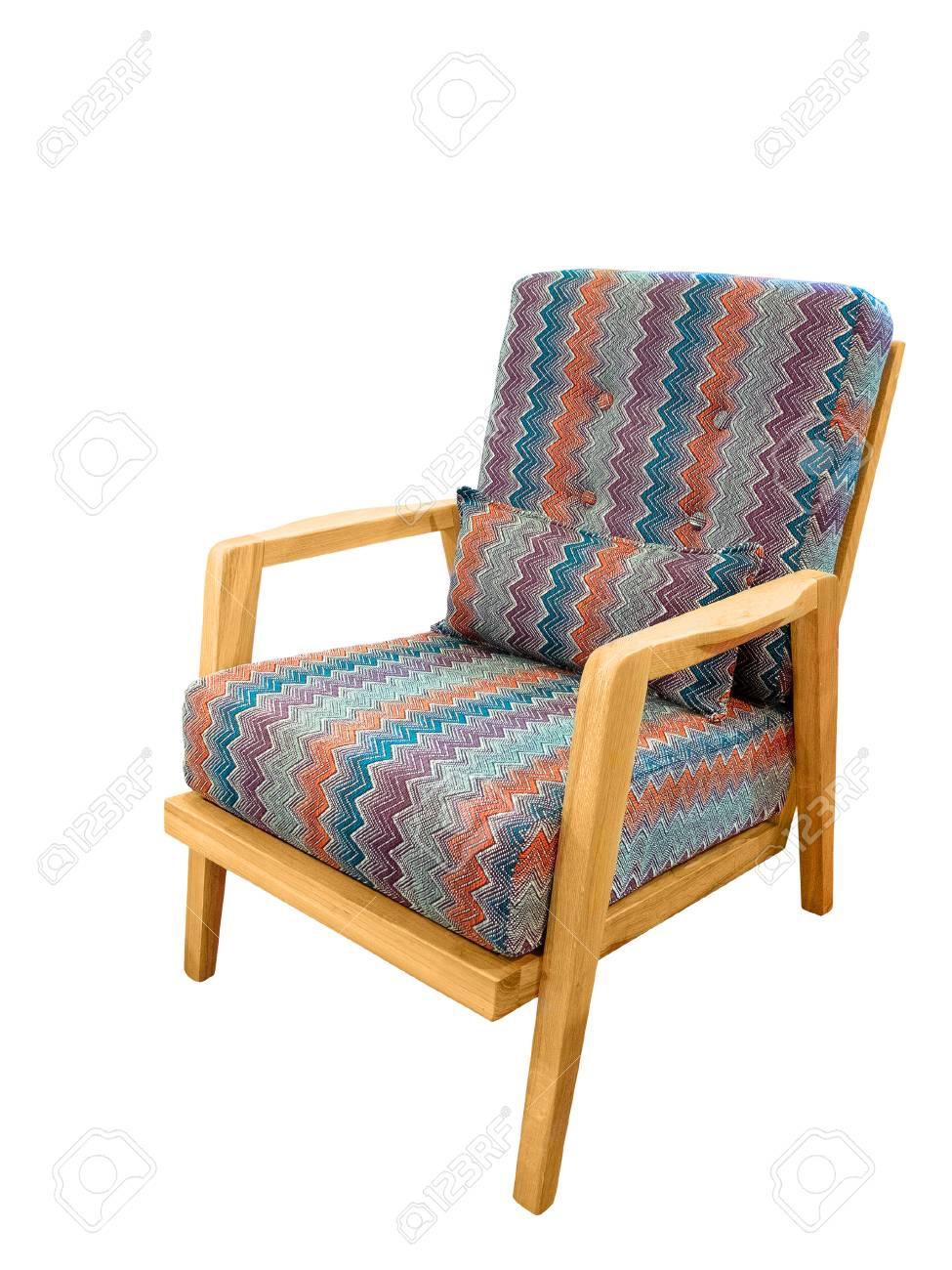 Schöne Und Modische Sessel Mit Kissen Auf Einem Weißen Hintergrund ...