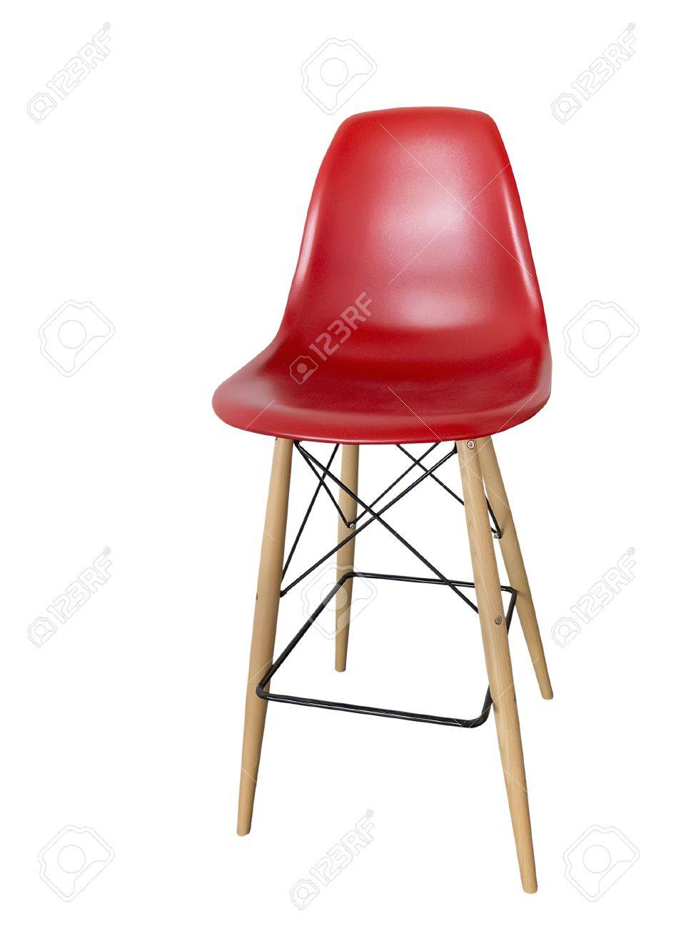 Chaise De Bar Rouge Moderne Sur Un Fond Blanc Banque DImages Et
