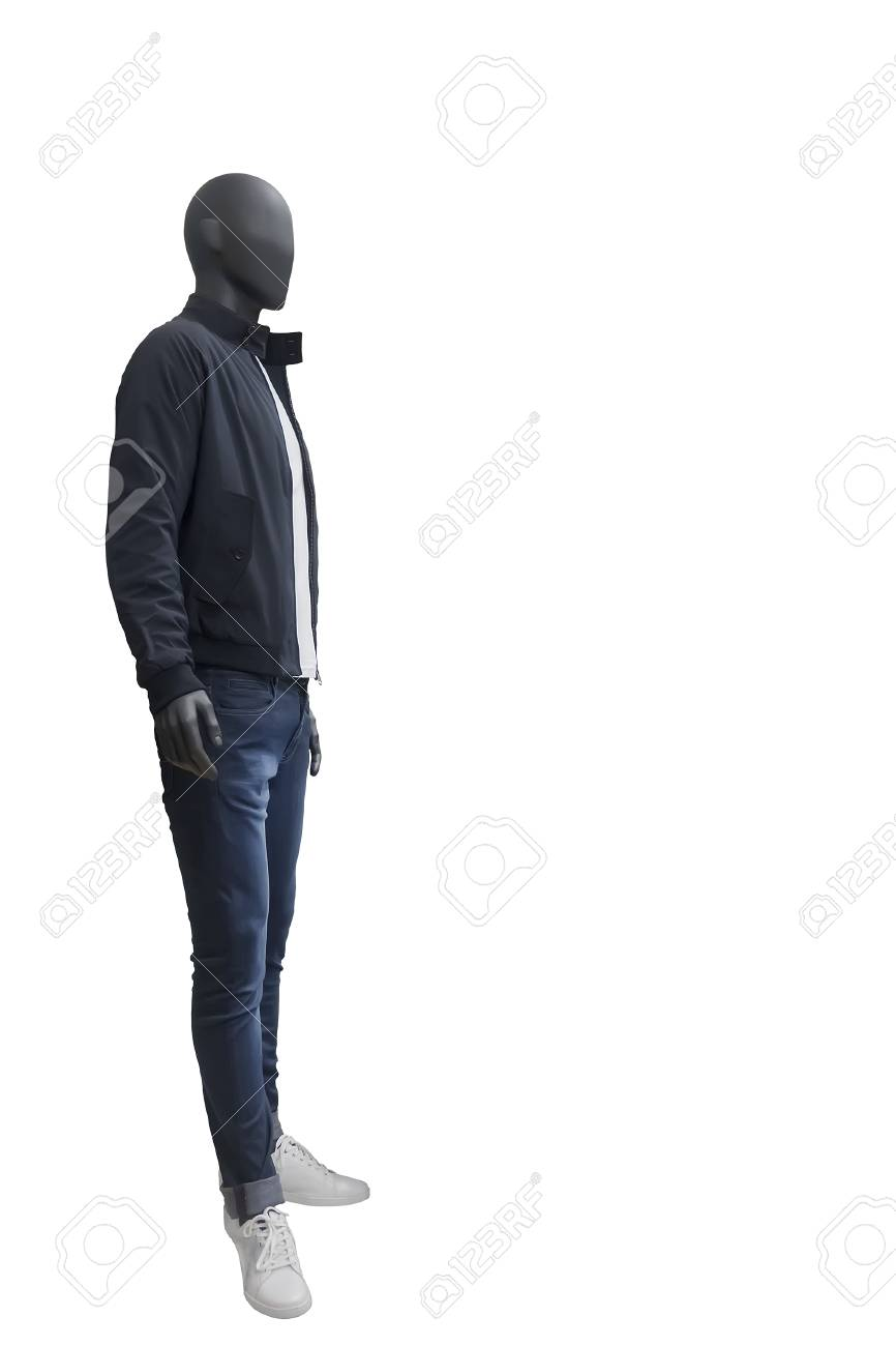 Lens Blue Wearing Jeans Mannequin Full And Male Black Jacket NwvO8n0ym