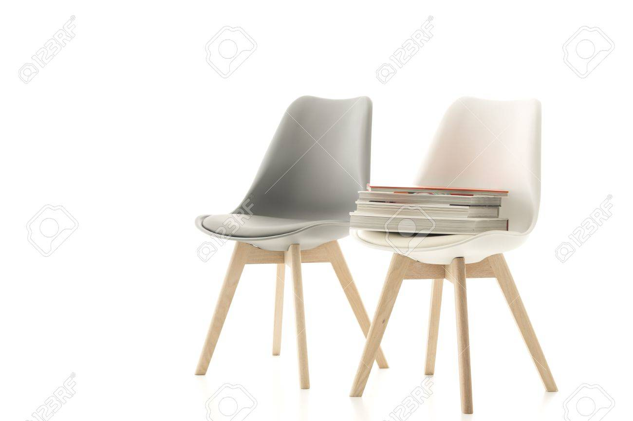 Superbe A Matching Stylish Grey And White Modern Molded Chair With Wooden Legs  Standing Side By Side