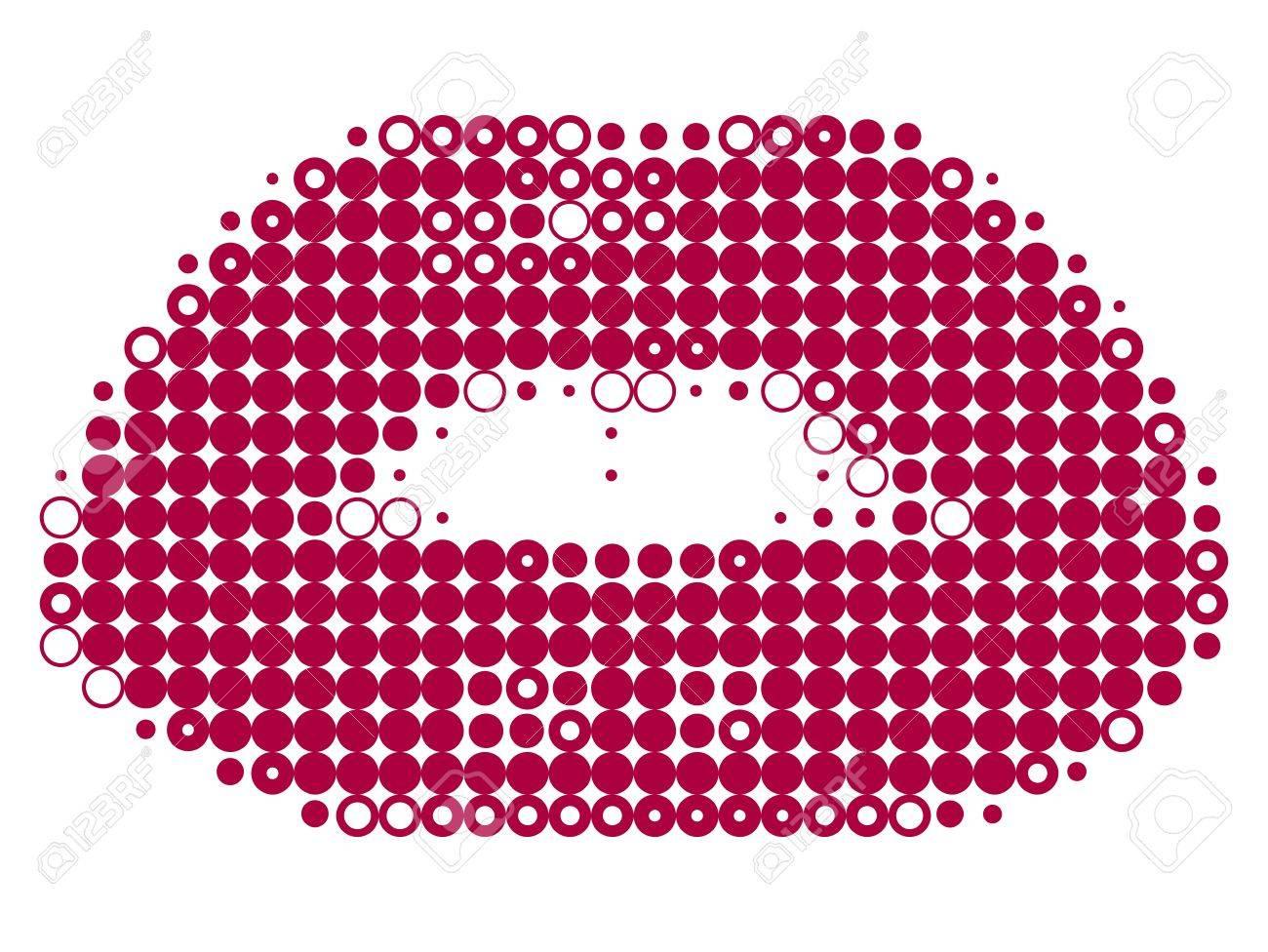 Pixelated female lips isolated on white vector illustration Stock Vector - 9134854