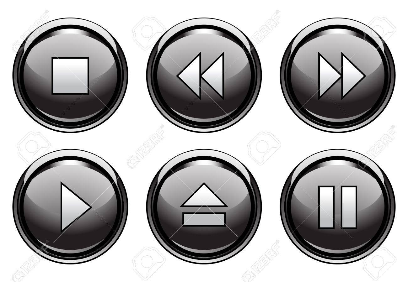 Set of 6 aqua style buttons for web and applications Stock Vector - 9134905