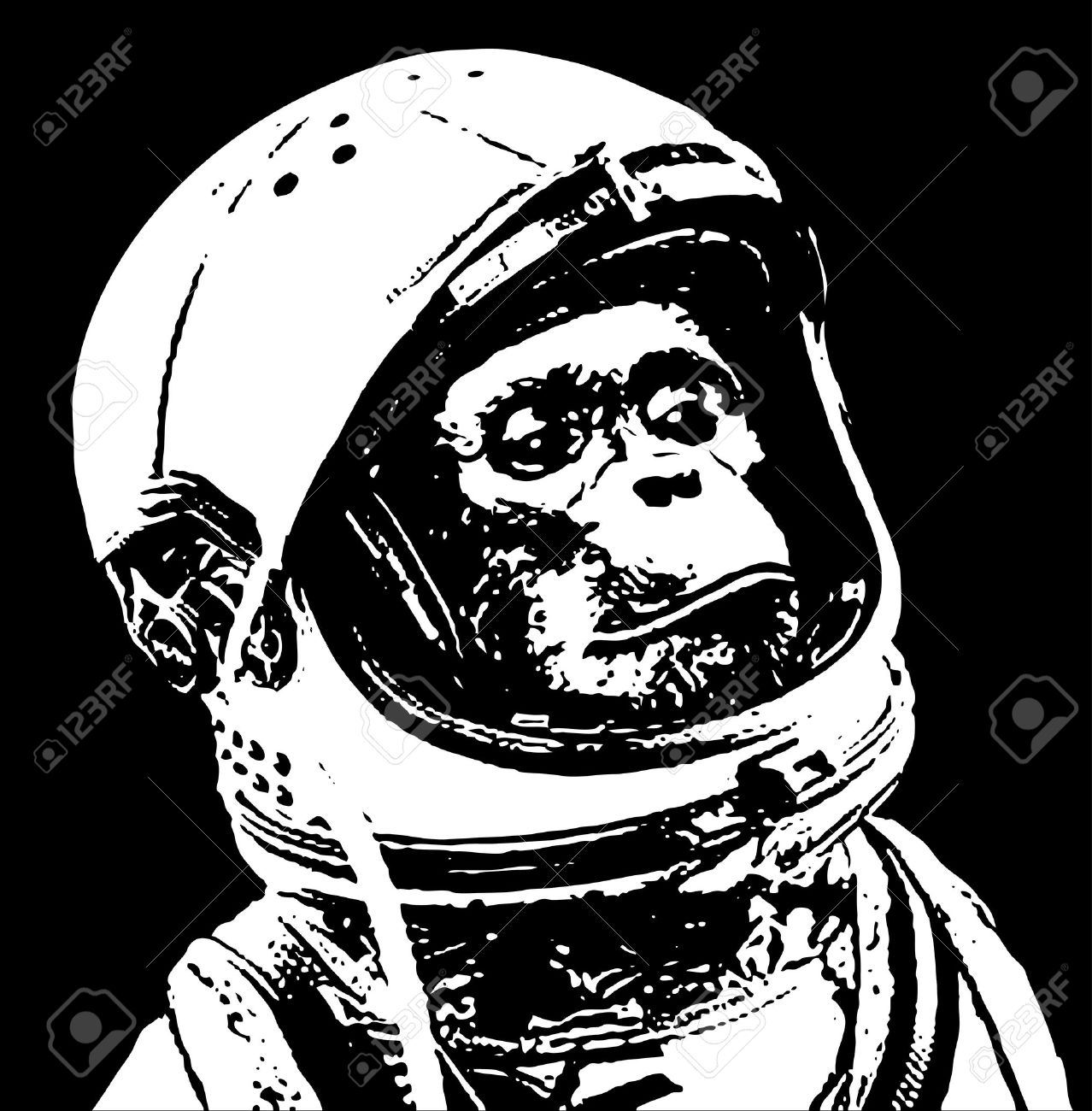 chimp in space stencil art royalty free cliparts vectors and stock