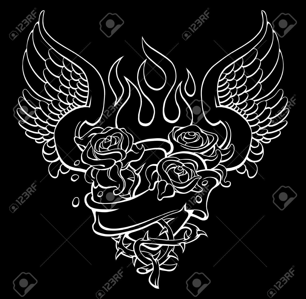 tattoo style design of sacred heart with roses Stock Vector - 12069267