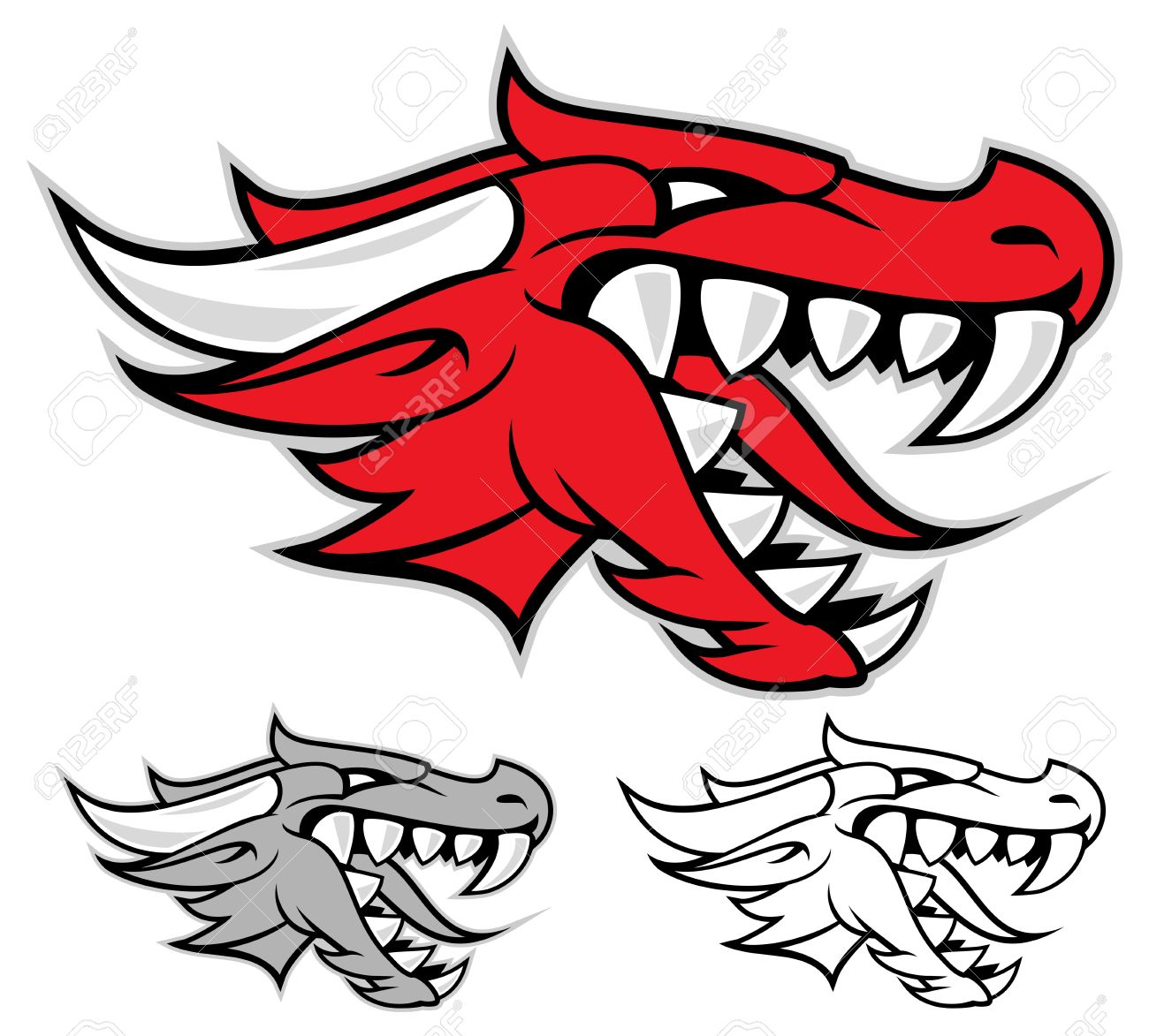 Head of a red dragon isolated on white Stock Vector - 13001314