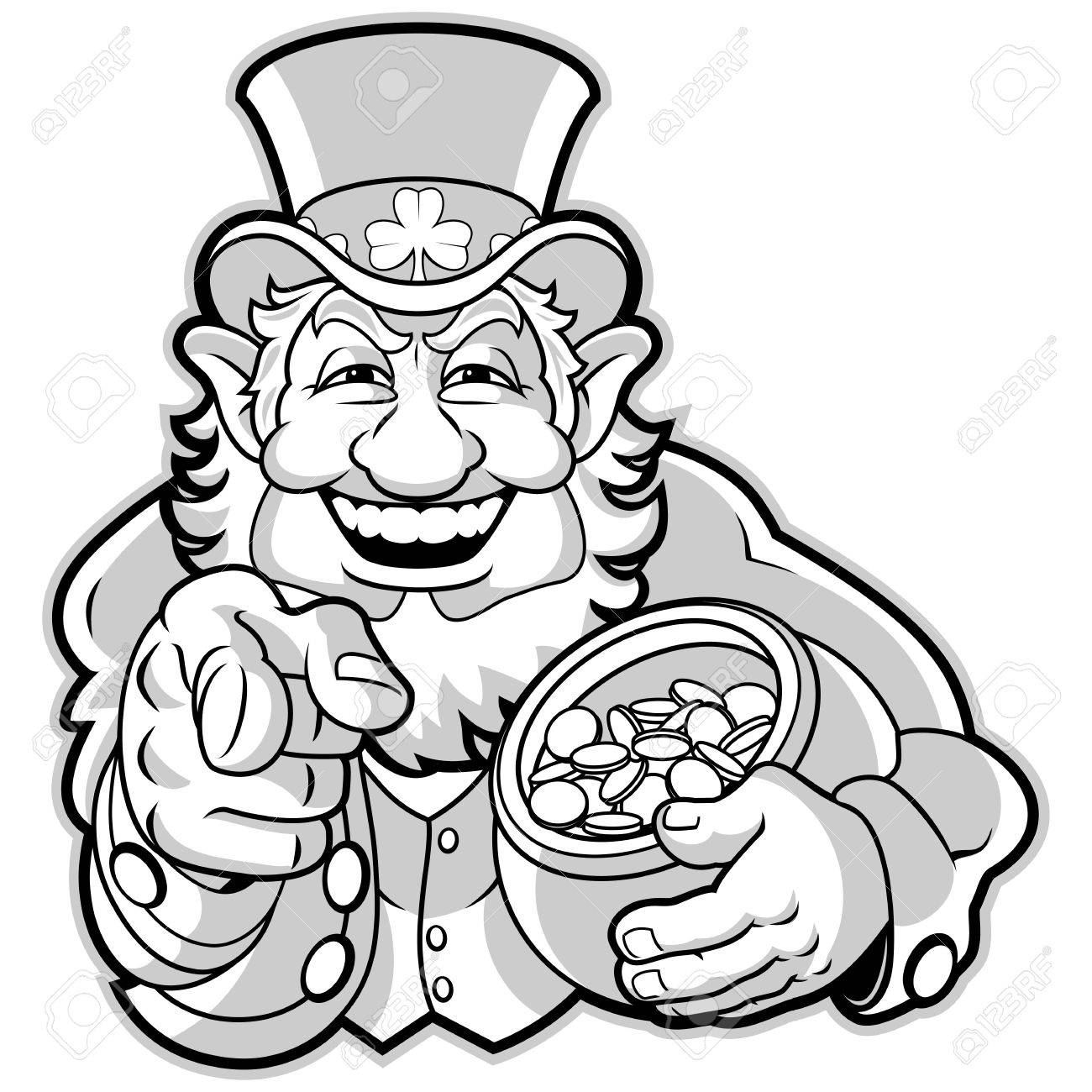 leprechaun with a pot of gold royalty free cliparts vectors and