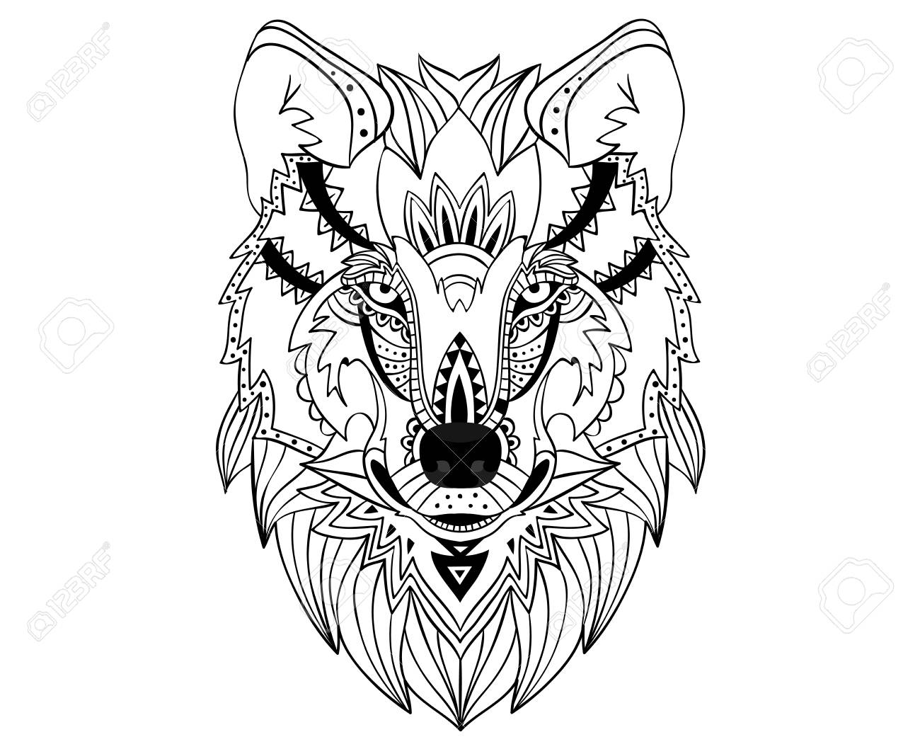 ethnic hand drawn wolf face stock vector 88261784