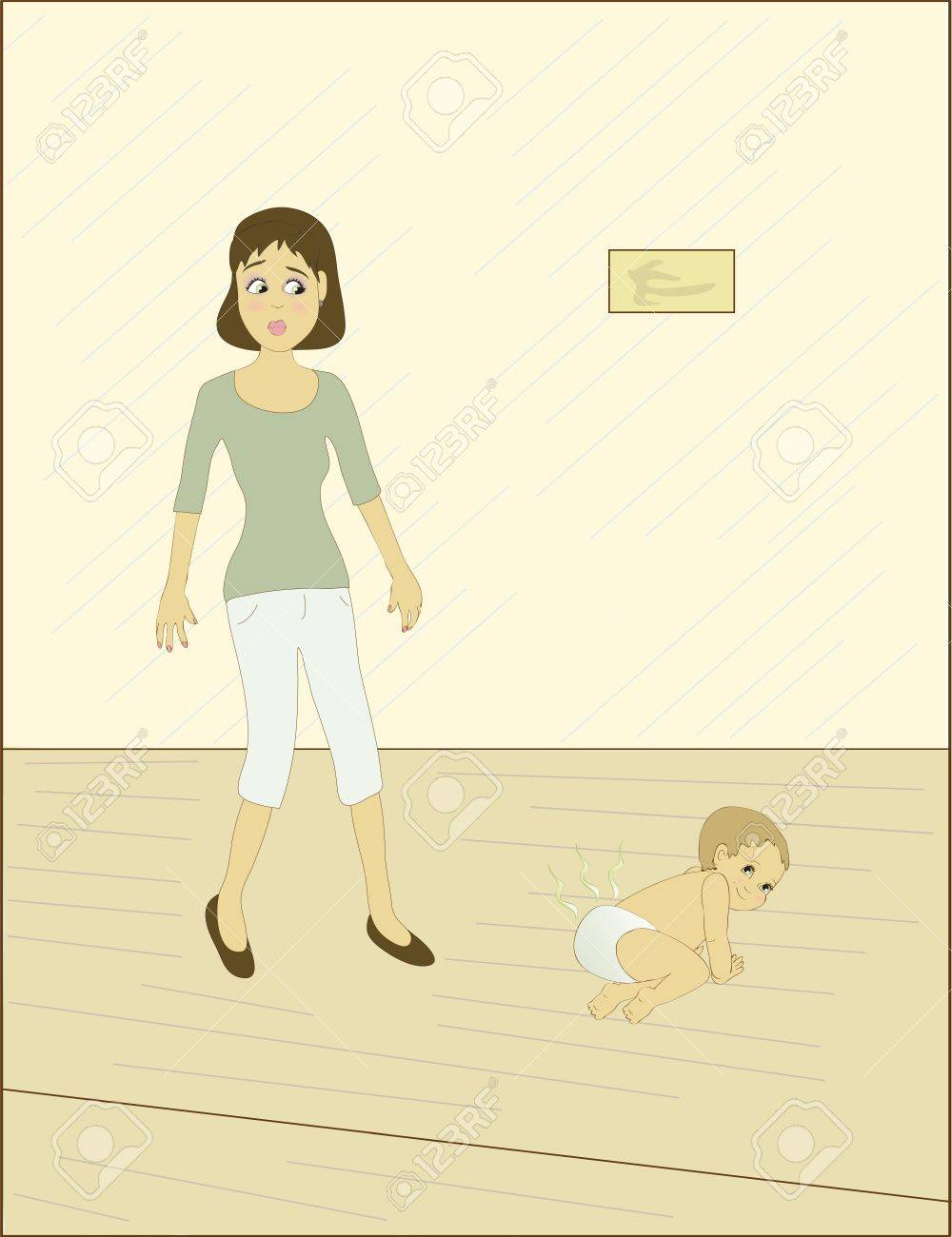 Baby in Diaper Walking a Mom Walking by a Baby With a