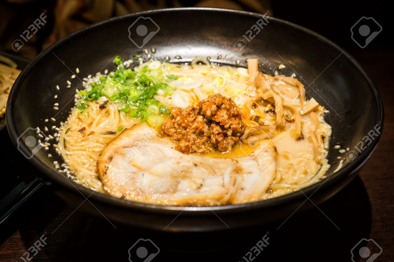 Ramen Japanese Food Style Roasted Pork And Spicy Ground Pork
