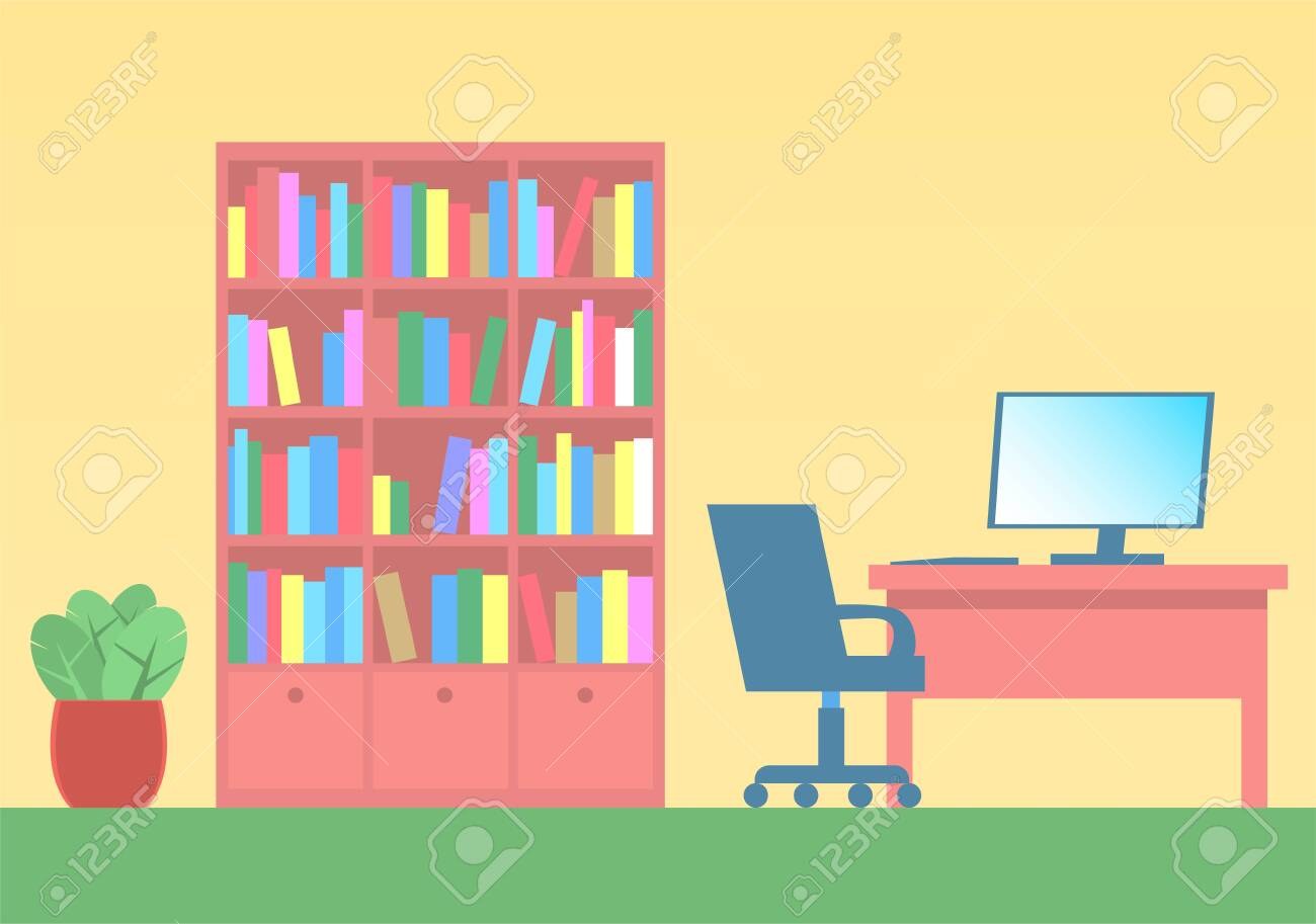 - Desk With A Computer, A Chair On Wheels And A Cabinet With A
