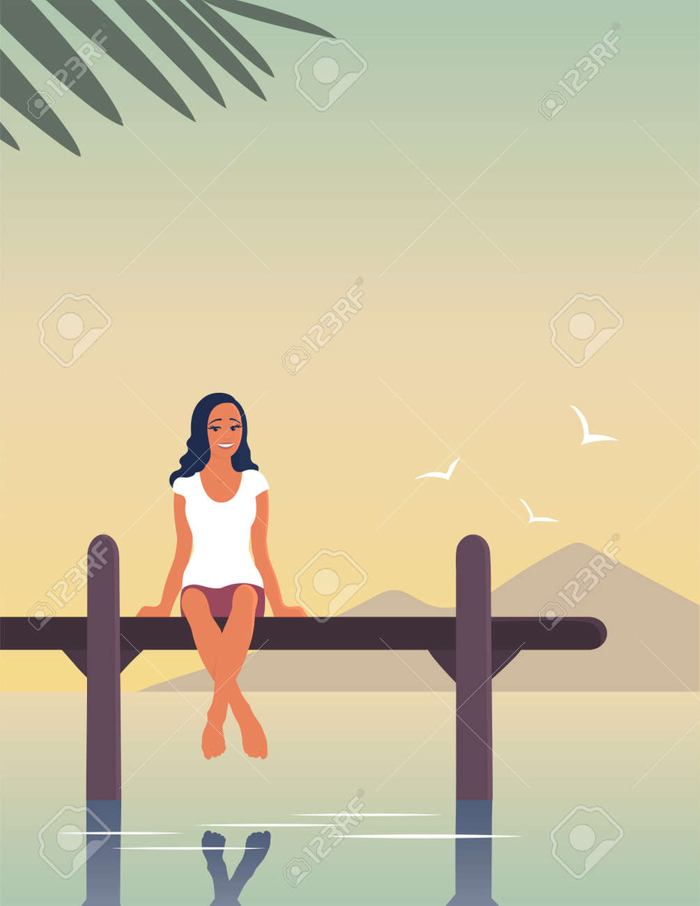 A young woman is resting by the sea. A girl are sitting on a pier above the water. Happy face with a smile. Tropical resort. Calm rest. Vector flat illustration with place for text - 171460615