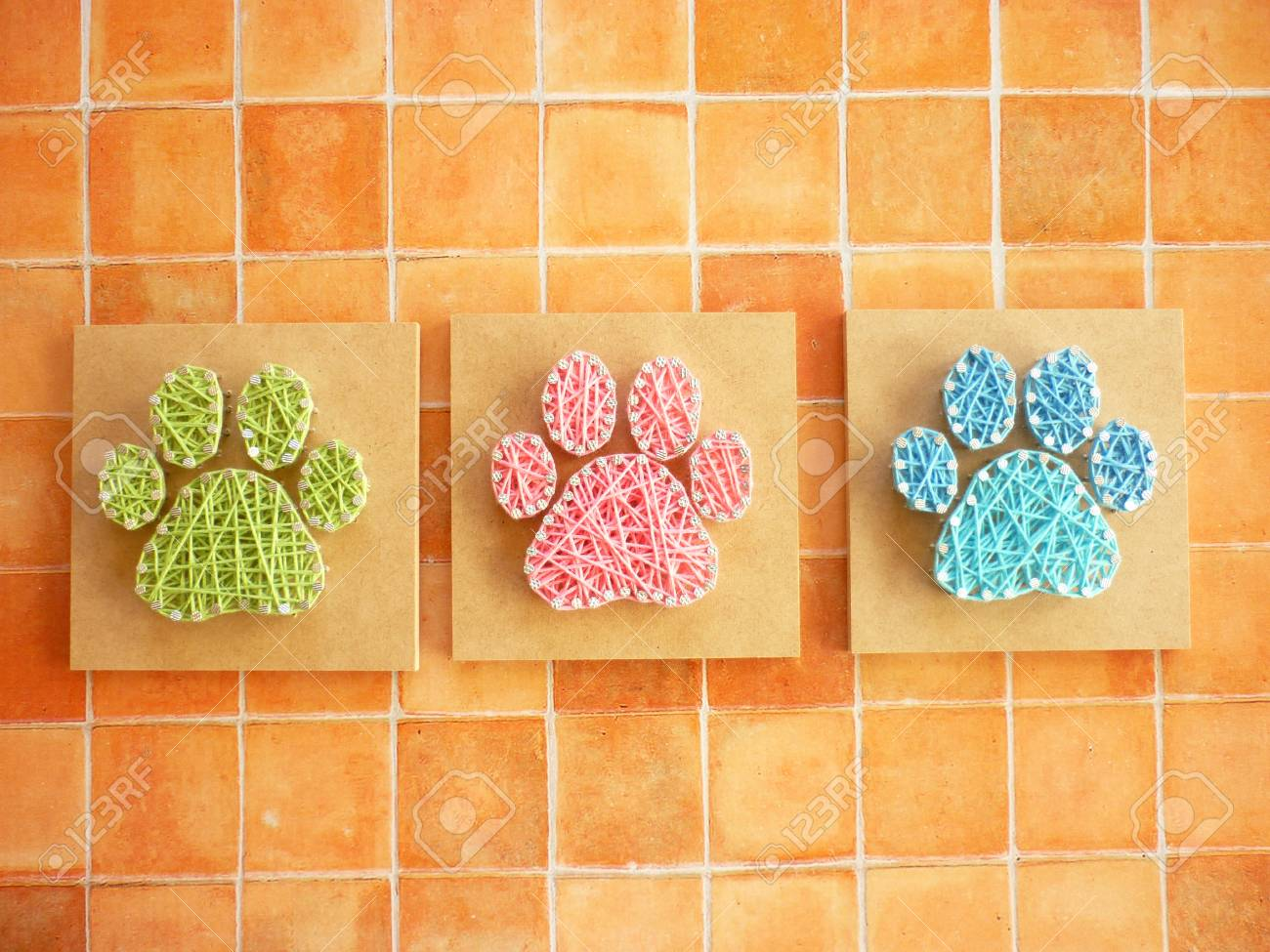 String Art Of Dog Footprints Stock Photo, Picture And Royalty Free ...