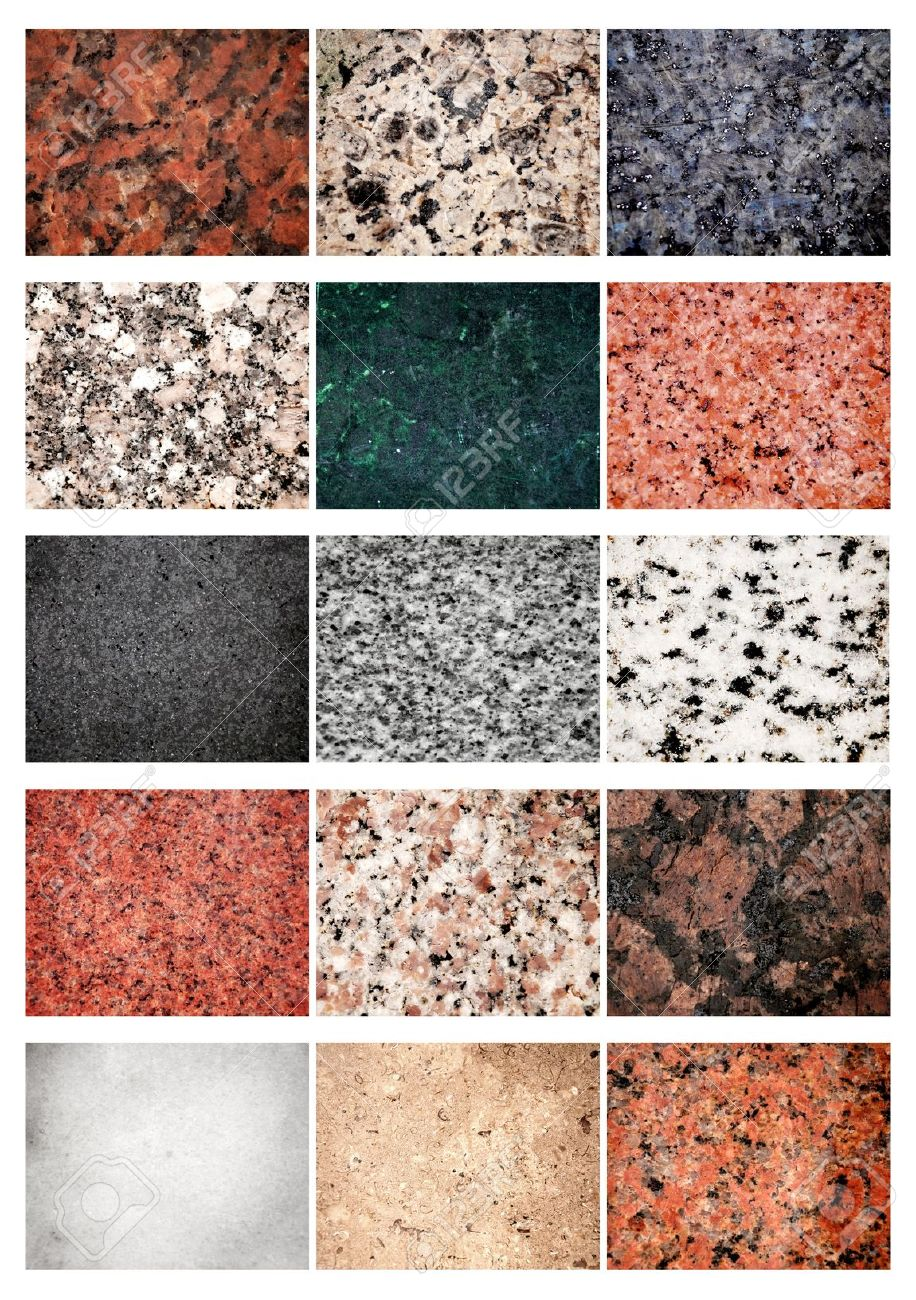 Collage 15 different samples of granite and marble Stock Photo - 11829830