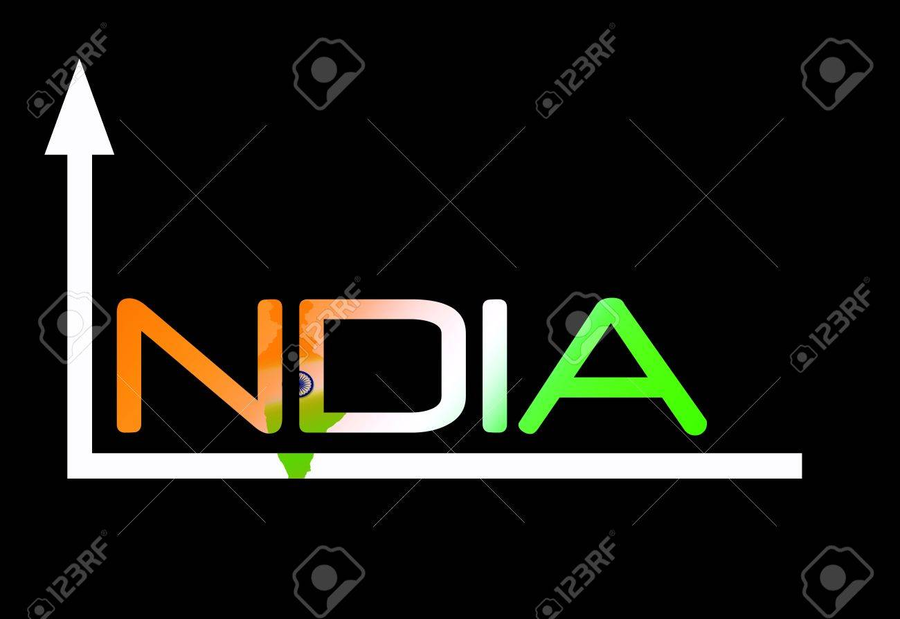 Indian growth design against black background Stock Photo - 13405920
