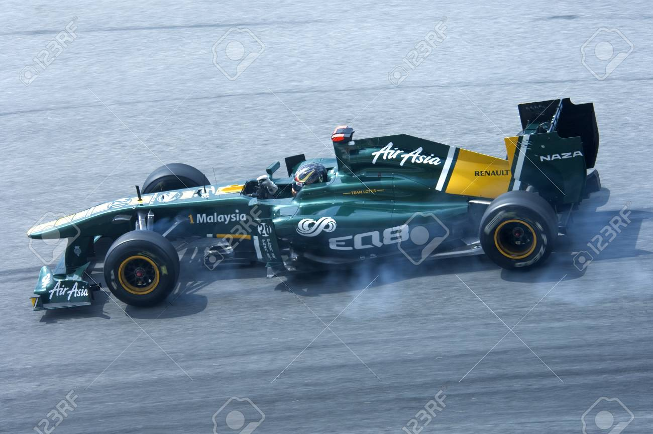 Sepang International Circuit, Malaysia - April 08th to 10th, 2011 – Davide Valsecchi the test driver for Lotus Formula One racing team testing the car during Petronas Malaysia Grand Prix 2011 Stock Photo - 9272022