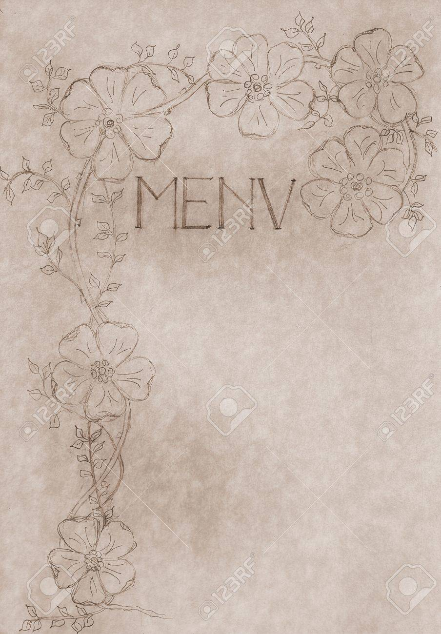 vintage hand drawn menu card, cover with free copy space, large file format use it also as promotional poster artwork Stock Photo - 5164432