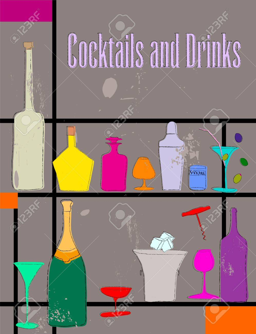 Drink and cocktail card design, vector Stock Vector - 9856600