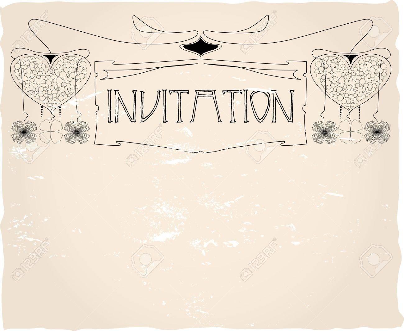 Plantilla De Tarjeta De Invitación Vintage Diseño Vectorial