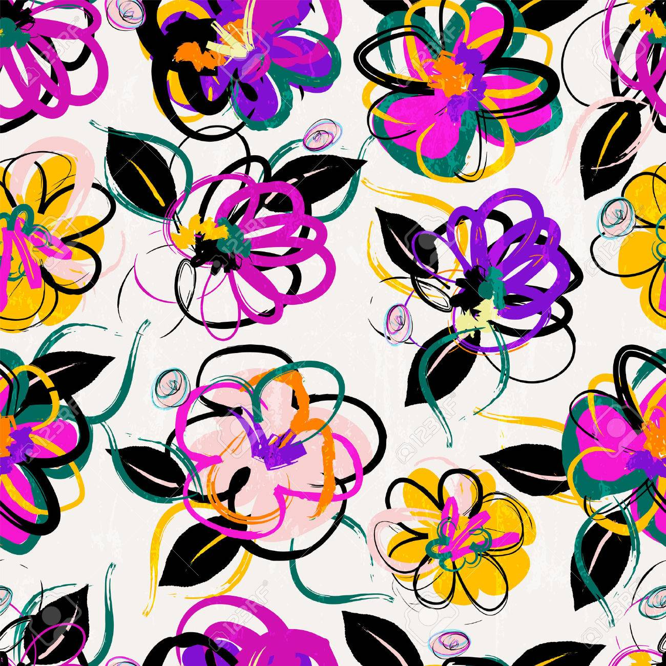 floral seamless pattern background, with strokes, summer flowers - 55303337
