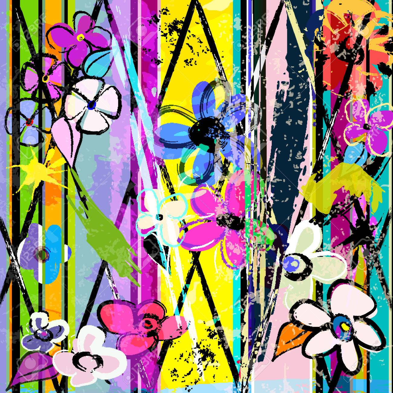 abstract background, with paint strokes, splashes and little flowers - 55304301