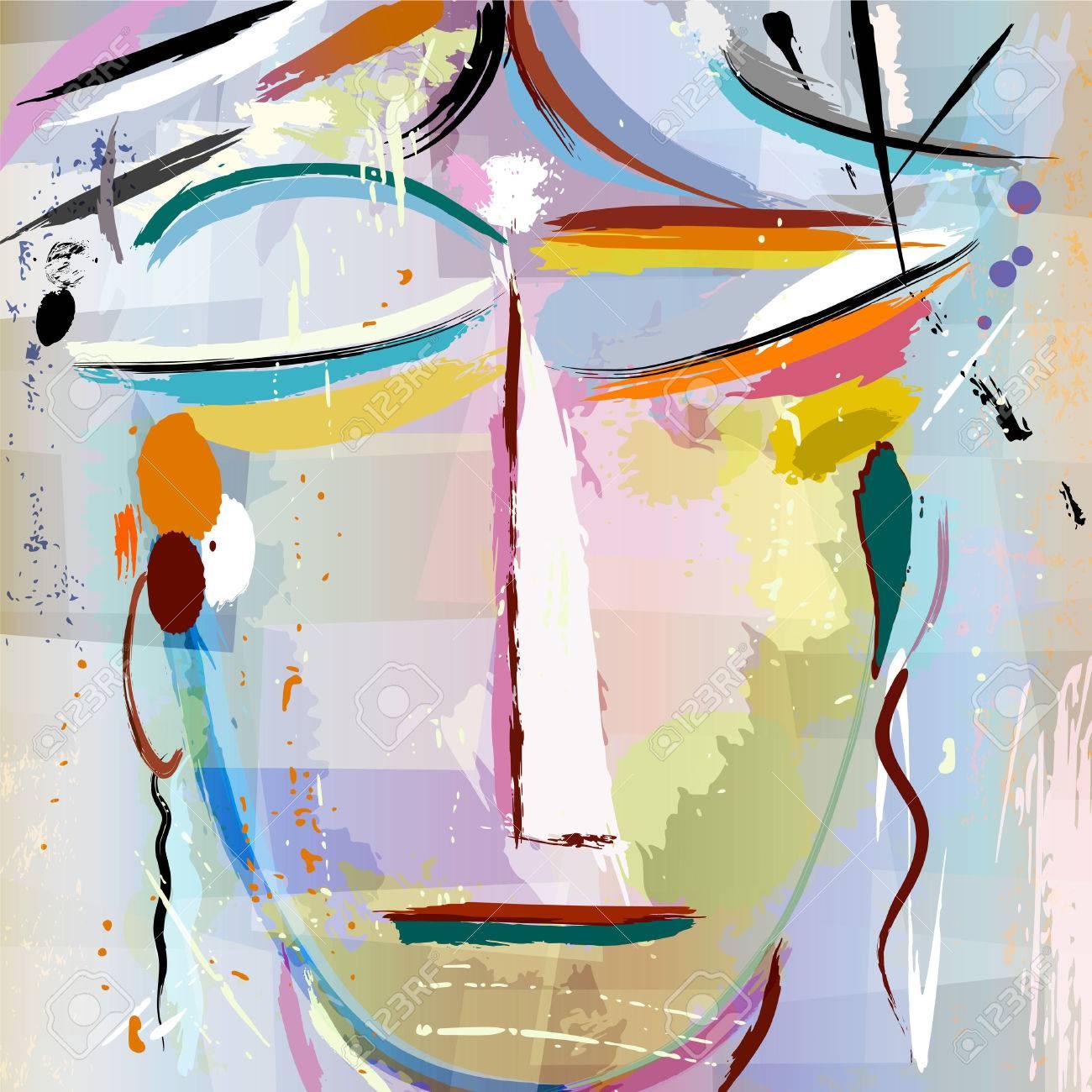 Visage Abstraite D'une Femme, Avec Des Coups