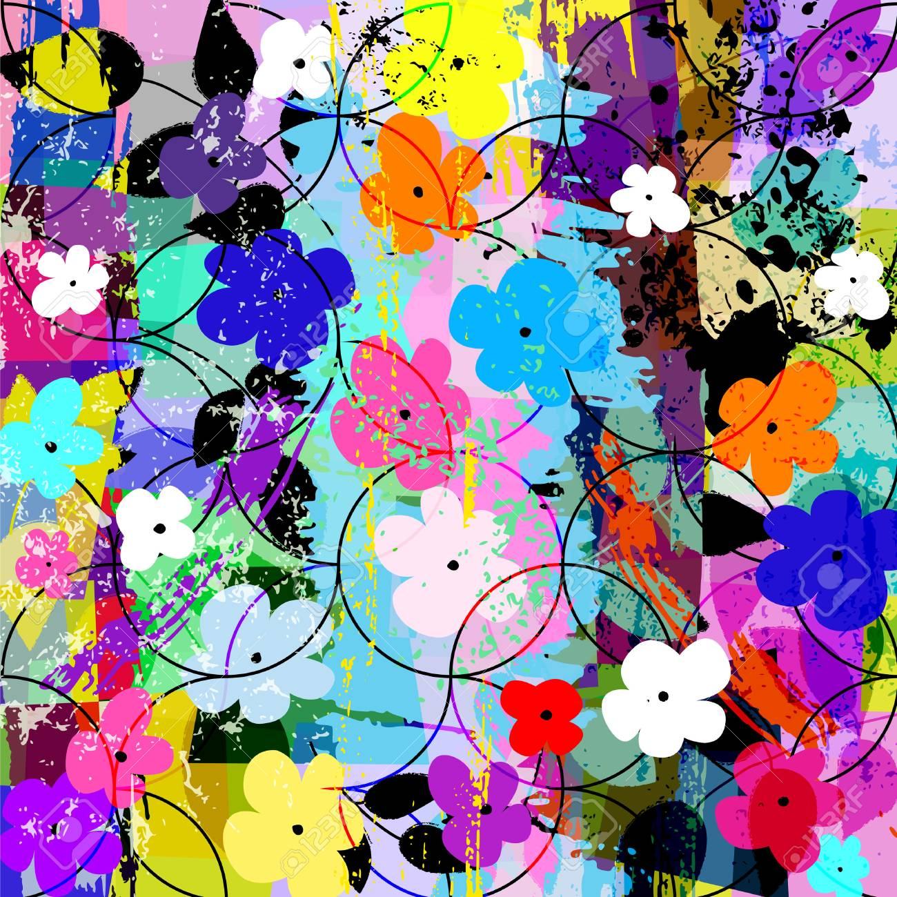 abstract flower background composition, with strokes, splashes, circles and little flowers - 68478931