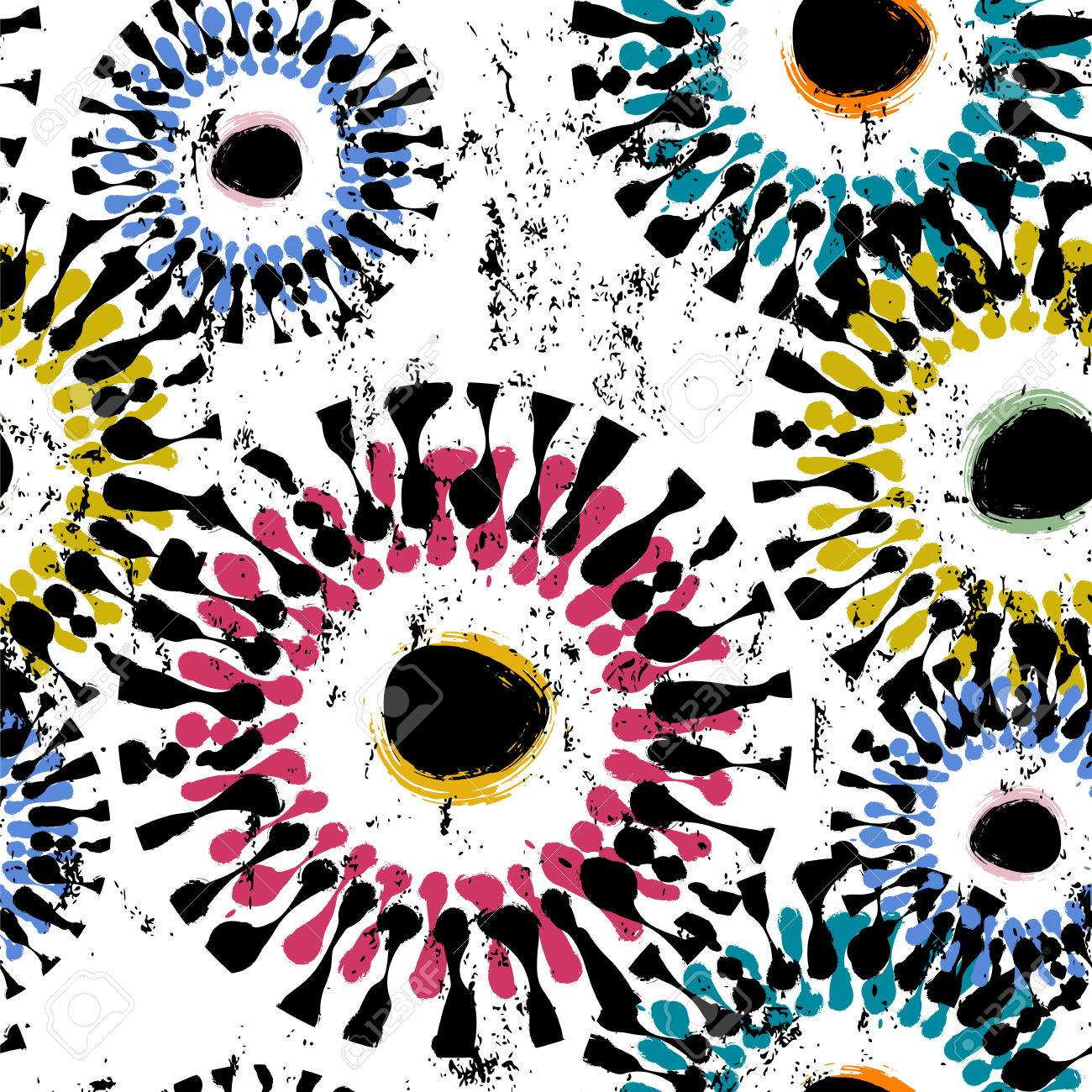 Seamless background pattern, with circles, paint strokes and splashes - 87109768