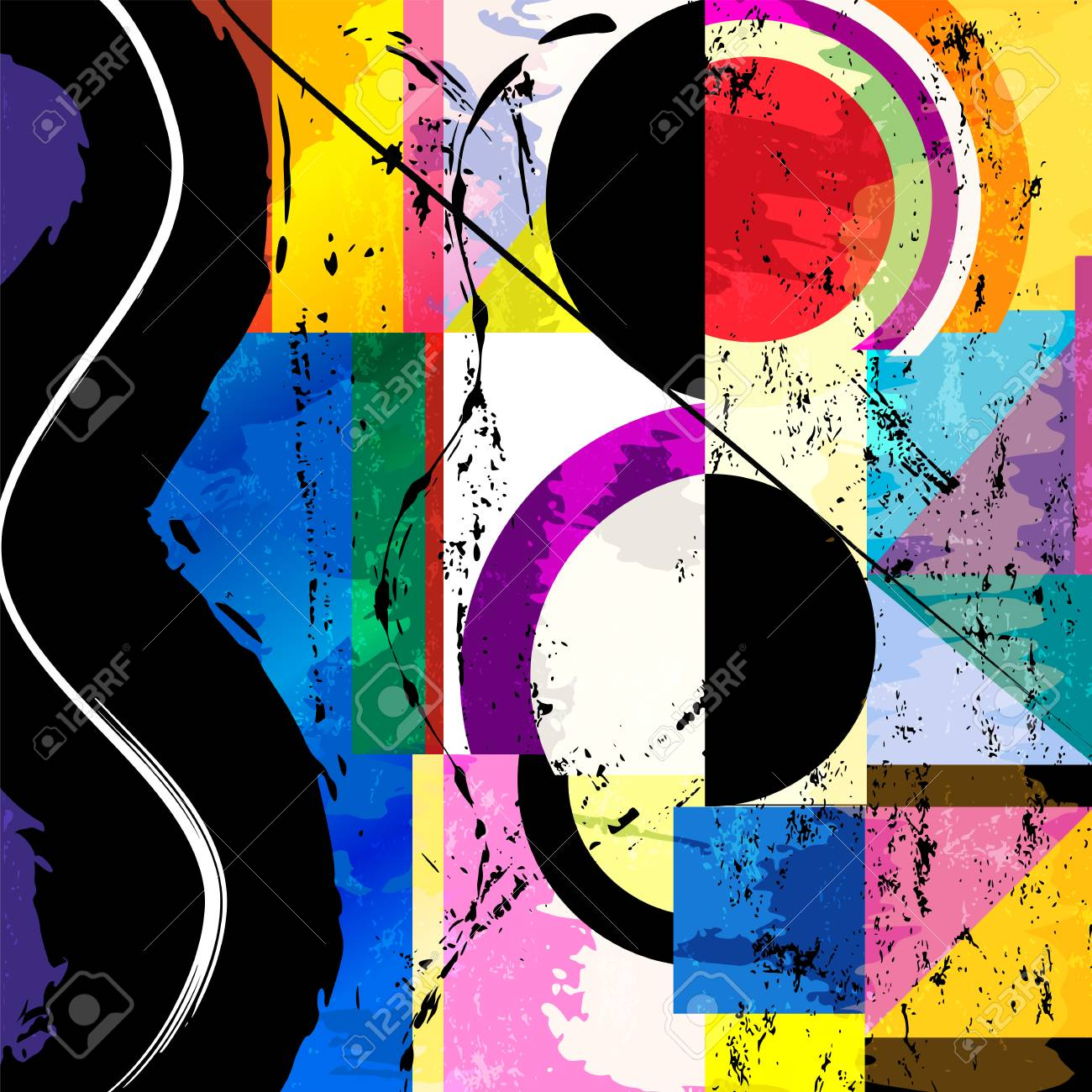 abstract circle background, retro/vintage style with paint strokes and splashes - 103826269