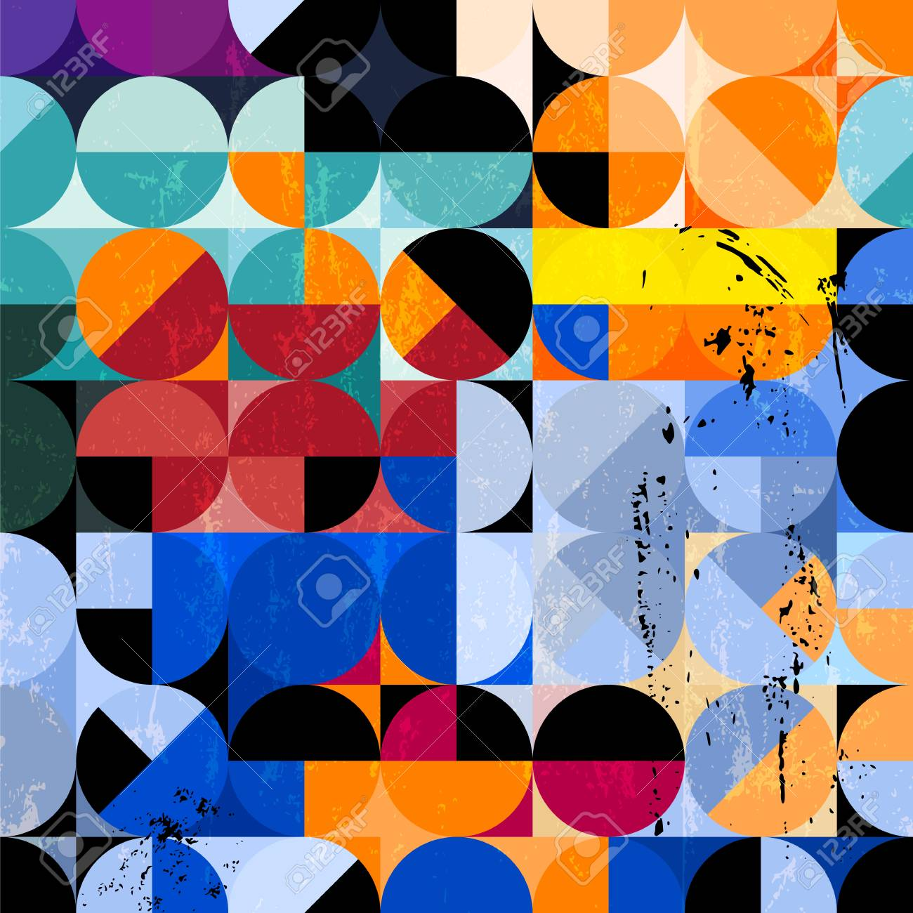 abstract geometric background pattern, retro/vintage style, with circles, strokes and splashes - 117016504