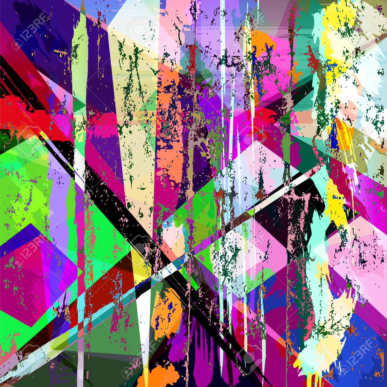 abstract geometric background, with paint strokes, splashes, triangles and squares - 149842312