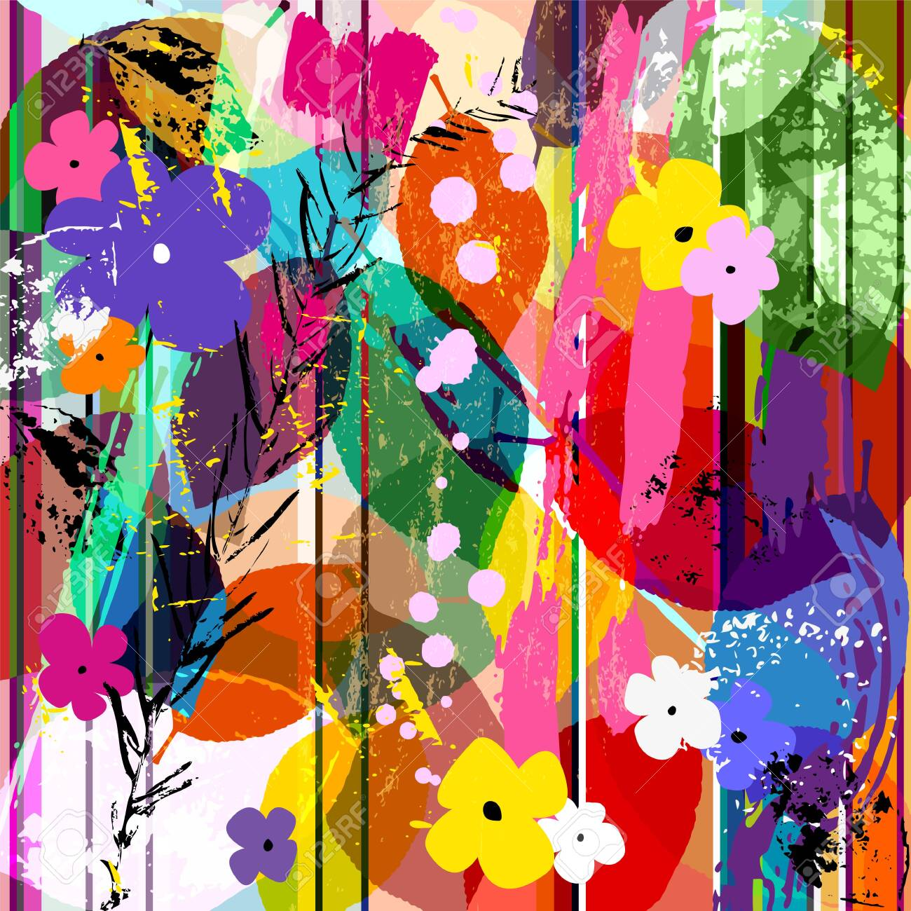 abstract background composition with little flowers, strokes, splashes and leaves - 153687006