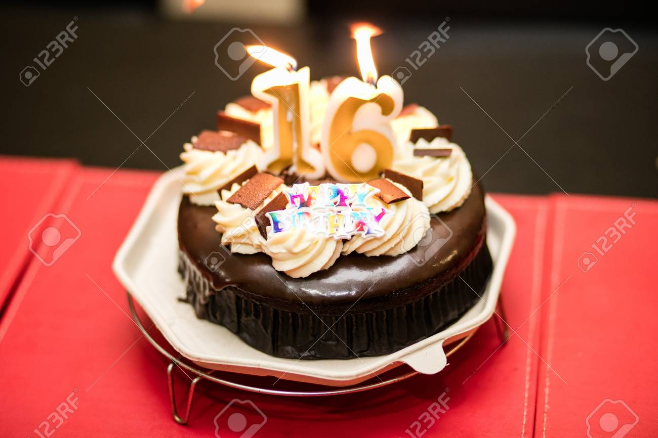 Marvelous Birthday Cake With 16 Shaped Candles Stock Photo Picture And Funny Birthday Cards Online Fluifree Goldxyz
