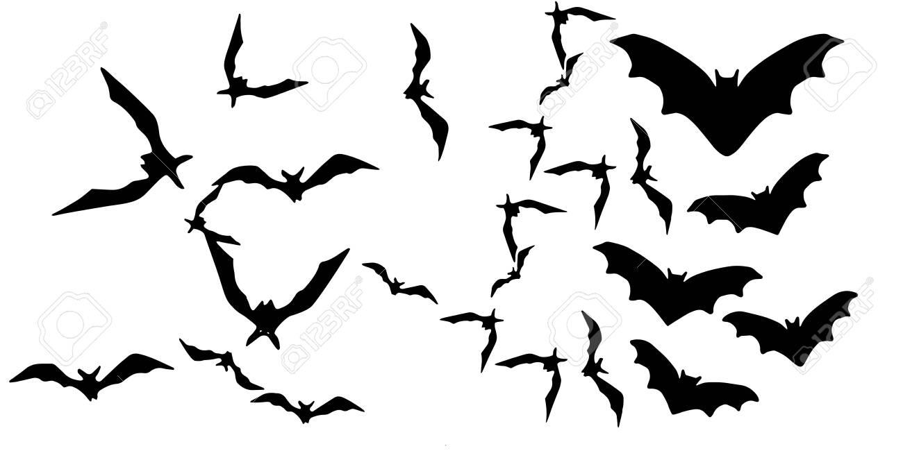 Horror black bats group isolated on white vector - 151739331