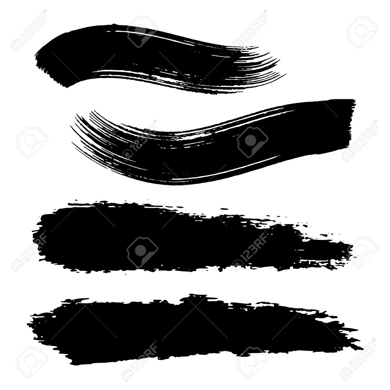 Vector black paint, ink brush stroke, brush, line or texture. Dirty artistic design element, box, frame or background for text. - 152031454