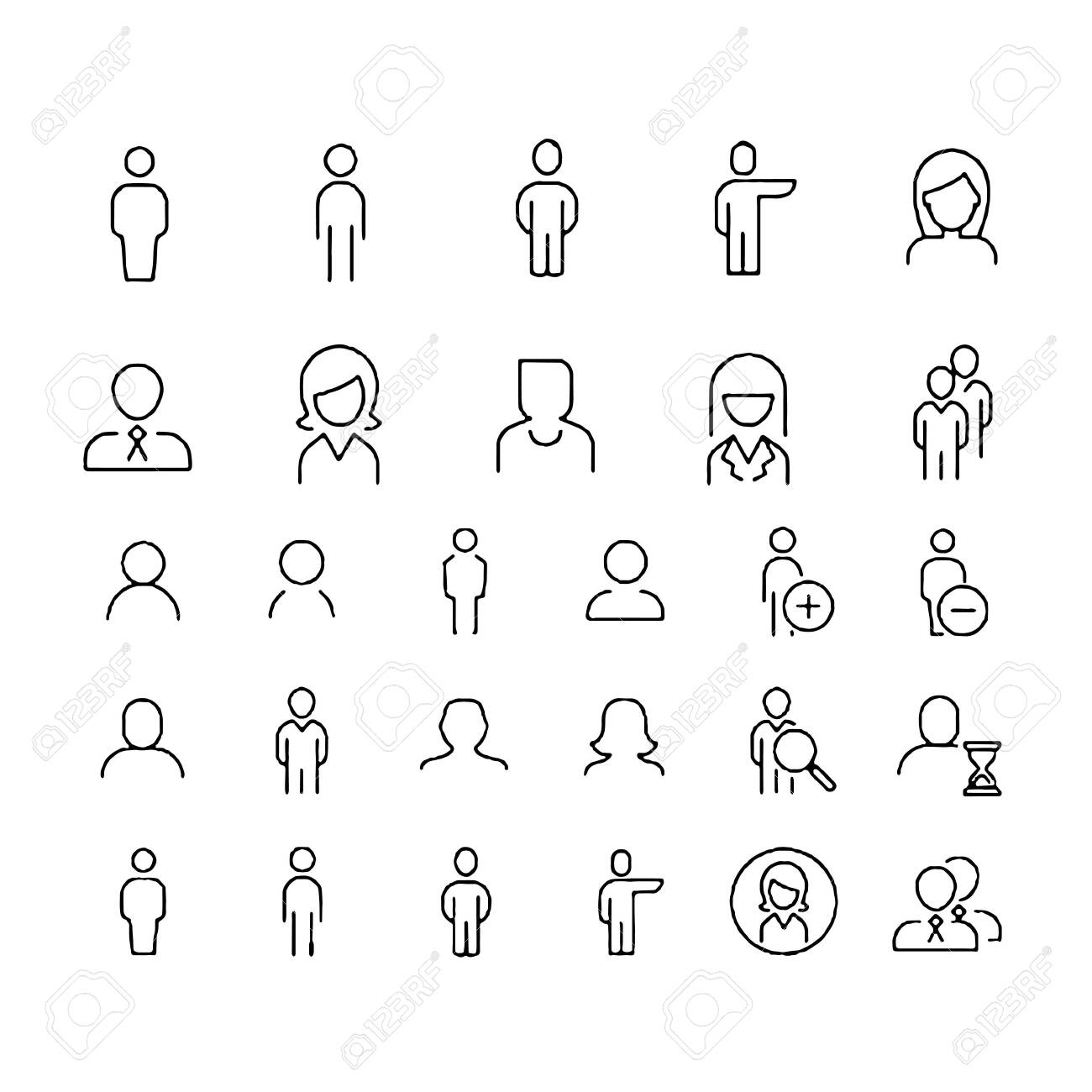 Simple Set of Business People Related Vector Line Icons. Contains such Icons as One-on-One Meeting, Workplace, Business Communication - 152034307