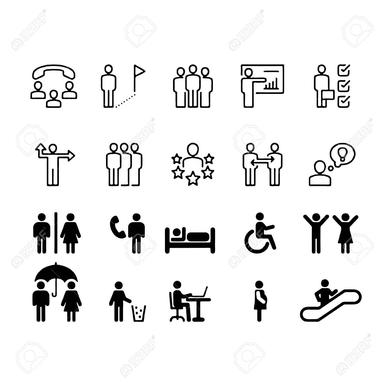 Simple Set of Business People Related Vector Line Icons. Contains such Icons as One-on-One Meeting, Workplace, Business Communication - 152037493