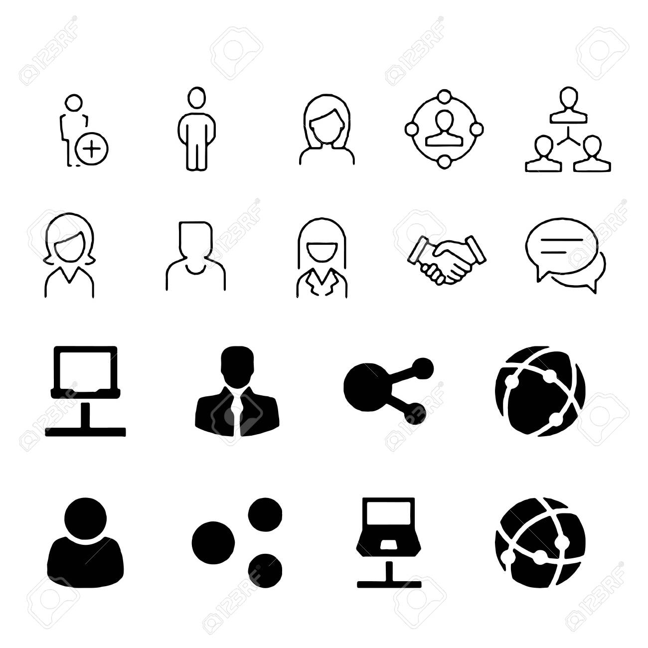 Simple Set of Business People Related Vector Line Icons. Contains such Icons as One-on-One Meeting, Workplace, Business Communication - 152037713