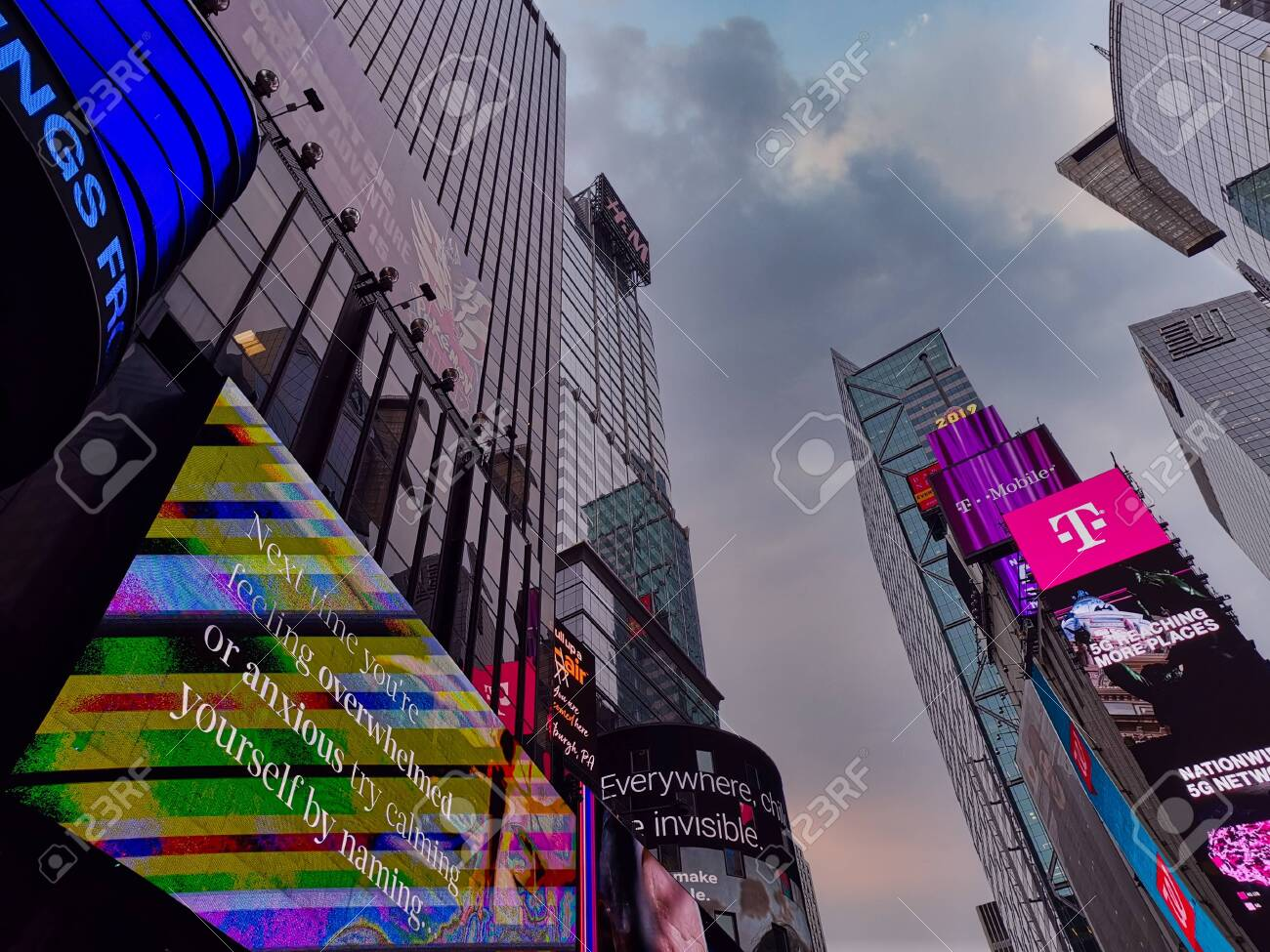 Times Square New York city USA, one of the world's most visited tourist attractions showing skyscrapers and bright illuminated billboards - 152821464