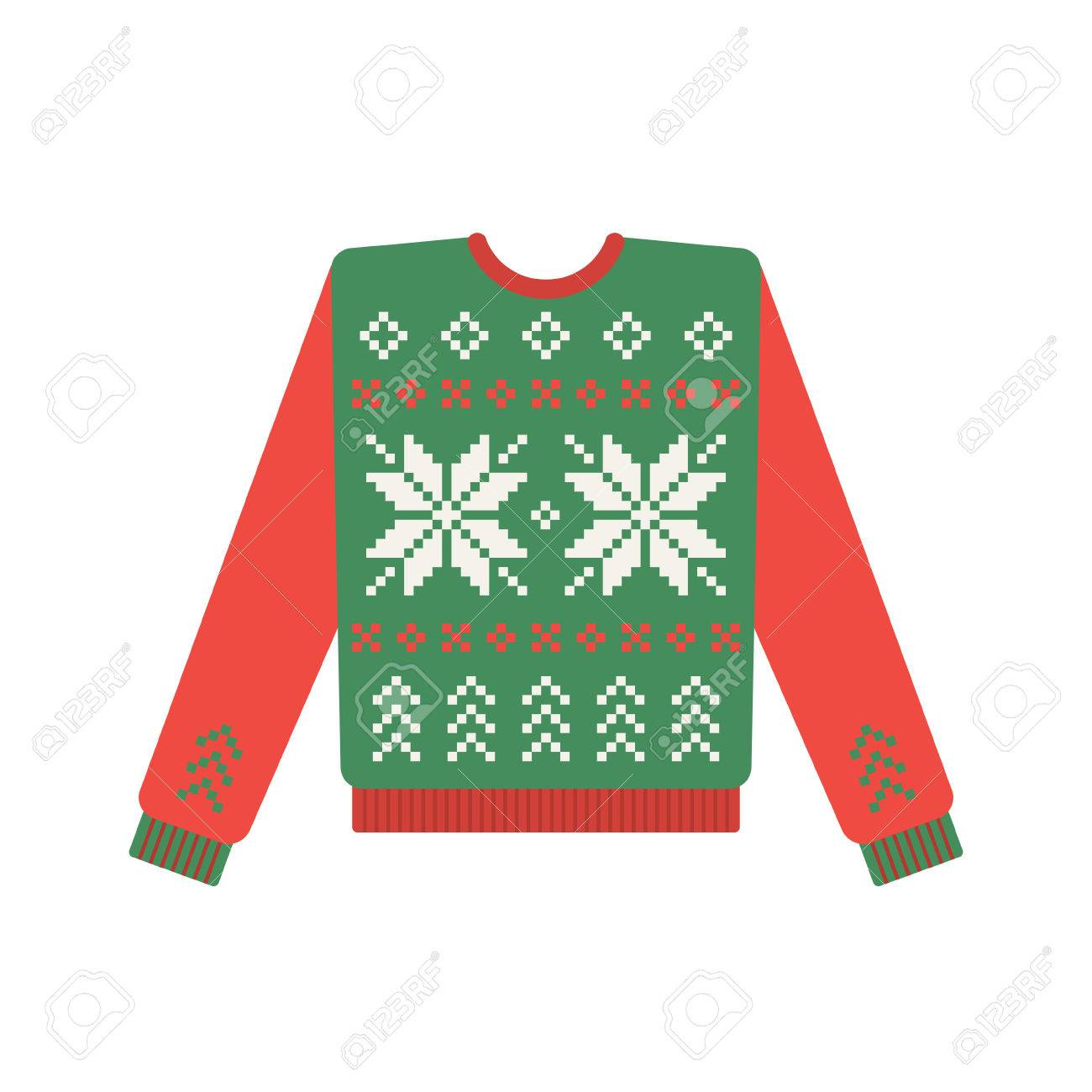 Ugly Christmas Sweater Pattern.Ugly Christmas Sweater With Deer Pattern Vector