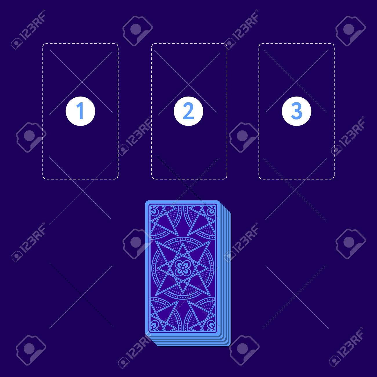Template For Three Tarot Card Spread With Deck Reverse Side - Tarot card template