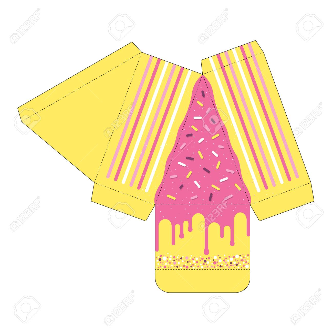 decorated cake slice box cutout template favor box die cut royalty