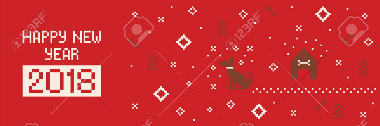 chinese happy new year 2018 cross stitch greeting internet banner with dog pixel art stock