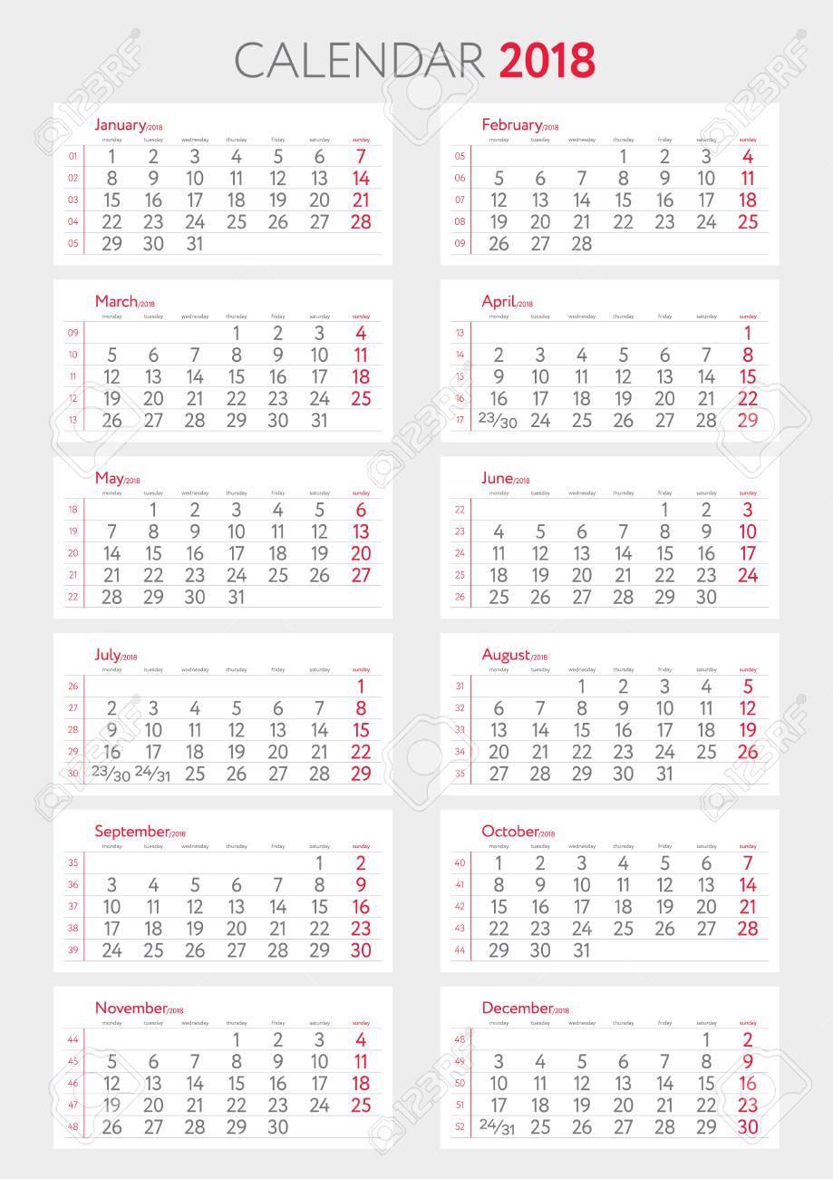 Settimane Calendario.Calendario 2018 Con Modello Settimane Inizia Lunedi