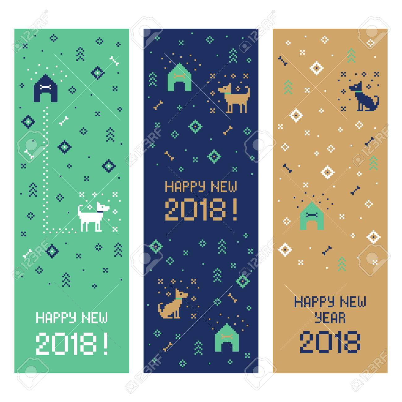 chinese happy new year 2018 cross stitch greeting internet banners set with dog pixel art