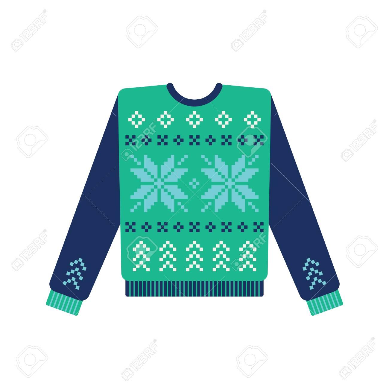 Suéter Feo De La Navidad Con El Modelo Hecho Punto Del Copo De Nieve ...