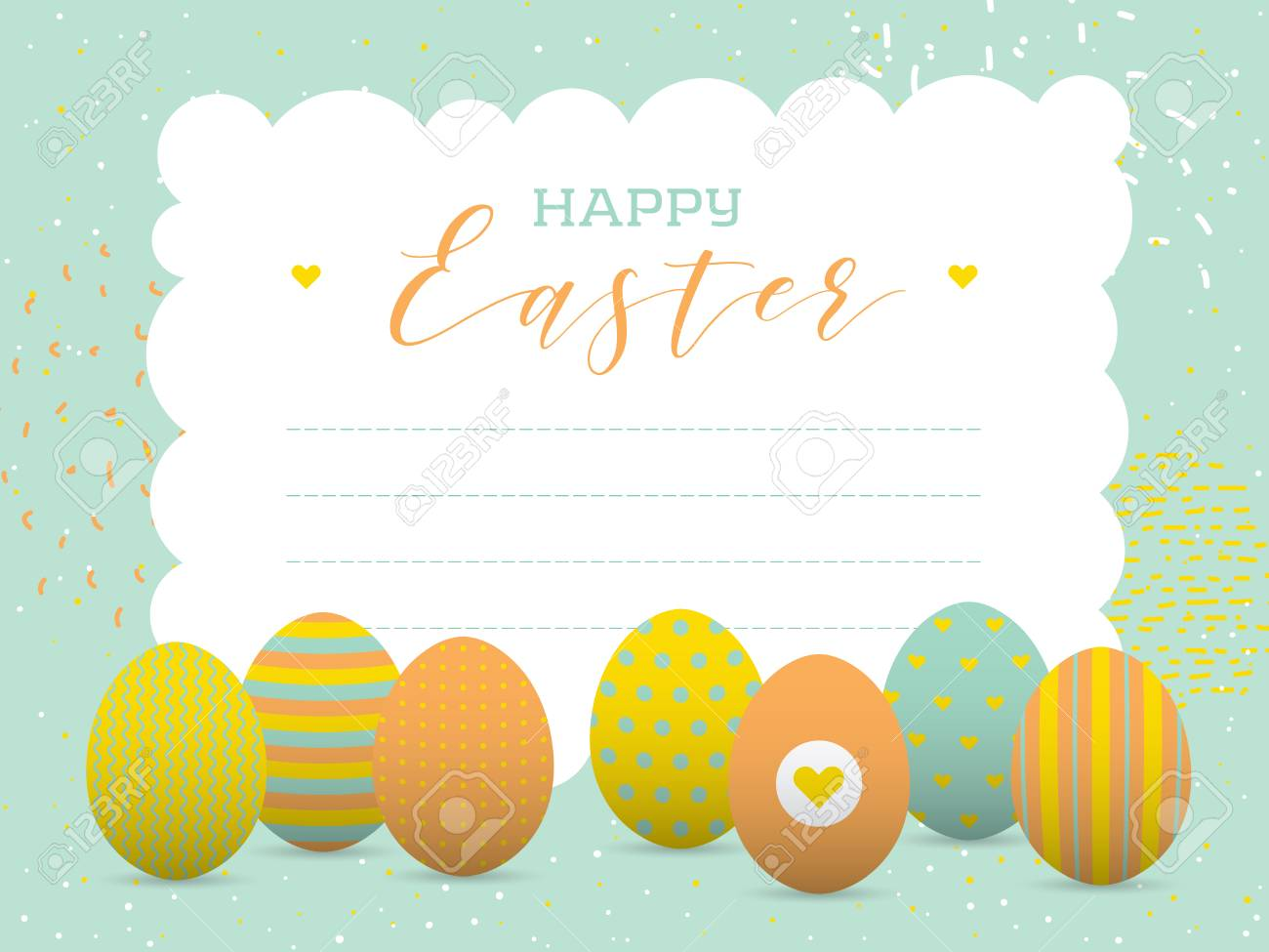 Happy Easter Greeting Card With Painted Eggs Place Your Text Stock